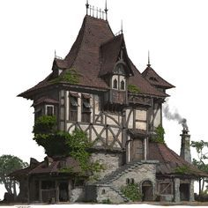 A folk house design and rendering. I upload some steps of this work. hope you like it! fantasy house - setting inspiration for DnD / Pathfinder could be an inn Fantasy City, Fantasy House, Fantasy Places, Detail Architecture, Amazing Architecture, Classical Architecture, Futuristic Architecture, Environment Concept Art, Environment Design