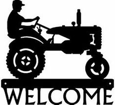 Farm Tractor 1 Metal Art Silhouette Welcome Sign New Country Wall Decor Gifts