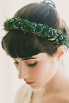 Bring greenery to your winter wedding with a natural, woodland-inspired crown made with dried and preserved juniper sprigs and cedar leaves