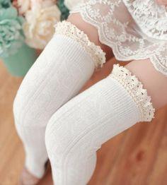 Quaanti Fashion Women Cute Horizontal Dots Pattern Winter Socks Tube Lace Striped Socks Clearance