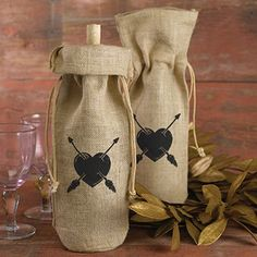 Burlap Wine Bag - Heart & Arrow