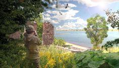 impressie van een overwoekerde ruïne van een steenfabriek langs de Waal. Landschapsontwerp Maurice Wenker, Dienst Landelijk Gebied.