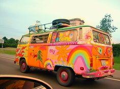 VW van, kombi bus, hippy