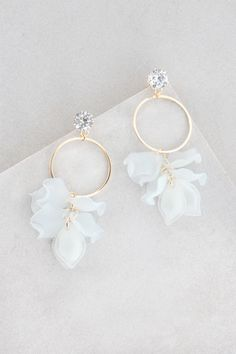 Goddess of Paradise Dangle Earrings | Ice White