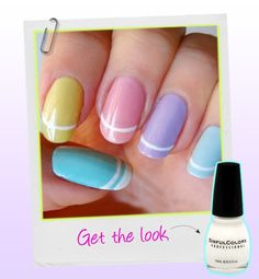 This nail art, by Maryam Maquillage, hints at the idea of Easter eggs with a spin on the classic French tip. Don't have many pastel colors in your polish collection? Do what Maquillage does and mix deeper hues with a white base until you get the shade you want. Love this!