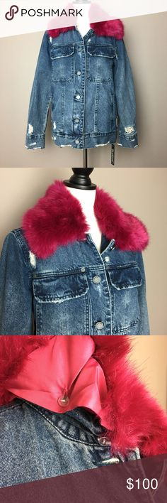 BlankNYC removable fur distressed jean jacket Awesome! Hot style! Look trendy with a distressed denim jacket or take it up a notch with the pink faux fur collar. Looks great both ways! Perfect condition NEW with tags attached.  Size SMALL  This is a blogger fav! Blank NYC Jackets & Coats Jean Jackets
