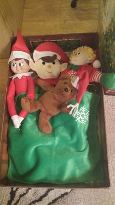 December 8th - The Elves have a duvet day with their Teddy Bear