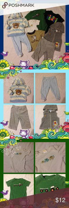 Boys Gymboree & Carters 8 Piece Bundle 0-6 Months You will receive: *carters blue and white striped fleece bear hoodie 6m *carters blue footed pants 6m *Disney gray velour pants 3-6m *disney winnie the pooh embroidered hooded vest 0-3m *gymboree elephant onesie 3-6m (see photo stain on arm) *gymboree green tractor onesie 3-6m *okie dokie black i love my mommy romper 3-6m *gymboree ruff day doggie tshirt 3-6m Gymboree Carters Matching Sets