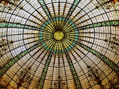 Stained glass dome over the lobby of the Gran Hotel Bolivar in Lima