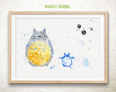 My Neighbor Totoro - Watercolor, Art Print, Home Wall decor, Japanese Animation, Hayao Miyazaki Totoro Poster