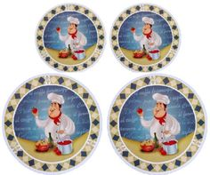 Chef Stove Burner Covers Set of 4 By Cooking Concepts New Electric Stove Burner Covers, Bistro Kitchen Decor, Cool Items, Rooster, Decorative Plates, Handmade Items, Concept, Make It Yourself, Shapes