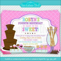 Chocolate Party Invitation //  Chocolate Fountain Fondue Party Invitation  by InvitationBlvd, $7.00
