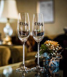 Mrs And Mrs Glass Decals Wedding Gift Anniversary Gift