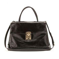 mytheresa.com - Miu Miu - GLAZED LEATHER ACCORDION TOTE - Luxury Fashion for Women / Designer clothing, shoes, bags