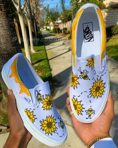 painted shoes Busy Bee Slip on Vans Vans Slip On Shoes, Custom Vans Shoes, Custom Painted Shoes, Custom Slip On Vans, Disney Painted Shoes, Painted Canvas Shoes, Painted Vans, Hand Painted Shoes, Vans Sneakers