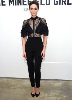 Emmy Rossum in a black lace Self-Portrait jumpsuit