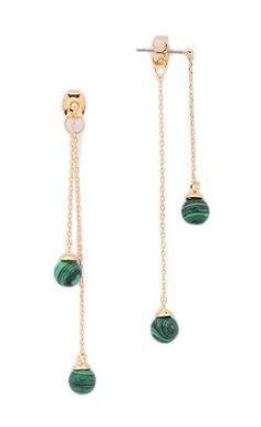 Malachite Drop Sphere Earrings