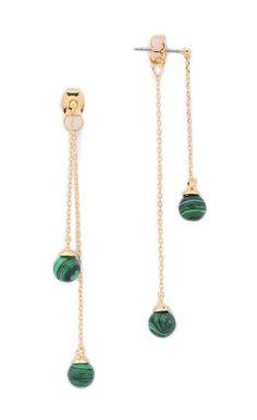 Malachite Drop Sphere Earrings