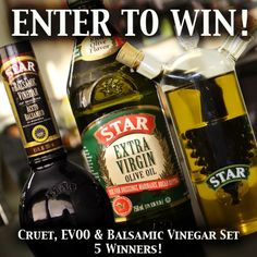 LAST weekend to ENTER to WIN one of five cruet sets from STAR!   Set includes a STAR Extra Virgin Olive Oil, Cruet,  Balsamic Vinegar. Go to https://a.pgtb.me/4flVfc    Winners will be announced December 30th!