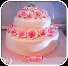 Weding cake with pink roses by Sibelle Butik Pasta ve Kurabiye http://sibelintarifdefteri.blogspot.com.tr/