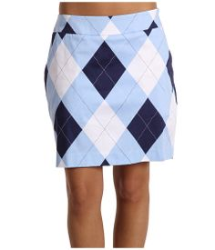 With a white polo. Loudmouth Golf Blue & White Skort
