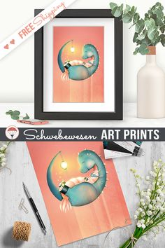Sushi Dinosaur Art Print, Little Dragon Painting, Pastel Coral Color, Salmon Poster, Cute T-Rex Wall Art, Chinese Food Maki, Soft Colors