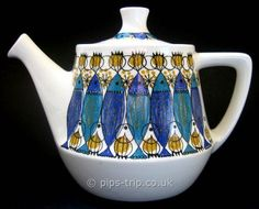 SOLD POTTERY ARCHIVES : Scandinavian Pottery 1 : 1960s Figgjo Flint (Norway) 'Clupea' Teapot by Turi Gramstadt Oliver