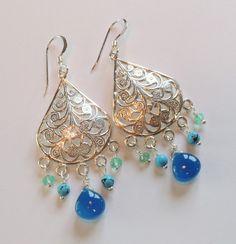 Sapphire Blue Quartz, Turquoise, Green Quartz Sterling Silver Teardrop Chandelier Earrings – Beth Lerner Jewelry http://bethlernerjewelry.com/collections/frontpage/products/sapphire-blue-quartz-turquoise-green-quartz-sterling-silver-teardrop-chabdelier-earrings