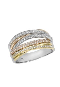 Moderna Tri Color 14K Gold Diamond Ring, .54 TCW