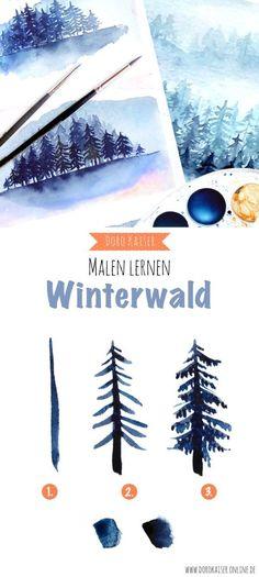 Foto und Video Anleitung | Malen Lernen mit Aquarellfarben: Malen Lernen mit Aquarellfarben: Winterlicher Wald | www.dorokaiser.online.de #watercolorarts