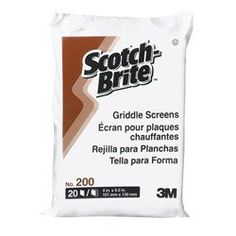 Griddle Screen in Brown by SCOTCH-BRITE. $94.51. 10 Packs of 20. 200CC Features: -Griddle screen.-For heavy-duty cleaning.-Designed to clean griddles that have been cooled down.-Tough aluminum oxide abrasive particles remove carbonized grease and food buildup on flat top griddles.-Replaces scrapers, grill bricks and grill stones that can disintegrate.-Use with Scotch-Brite griddle cleaning system handle and pad.-20 Per pack. Color/Finish: -Color: Brown. Dimensions: -Dimensions...