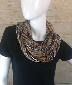 Classic African Print in Brown and Black Infinity Scarf by DeZeStar on Etsy