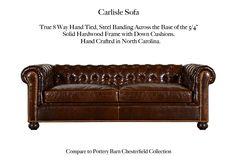 The Carlisle Tufted Leather Sofa by Casco Bay Furniture Tufted Leather Sofa, Tufted Sofa, Leather Furniture, Casco Bay, Carlisle, Chesterfield, Pottery Barn, Man Cave, Furniture Ideas