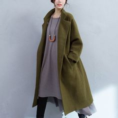 Army Green Pocket Woolen Jacket