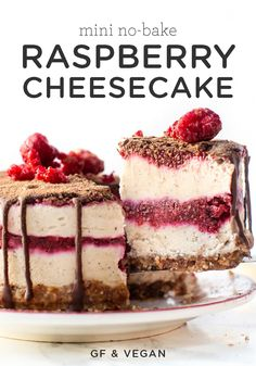 You'll Love This No-Bake Mini Raspberry Cheesecake Recipe Delicious Layers Of Chocolate And Raspberry Jam In This Vegan, Gluten-Free, Healthy Dessert. Simple To Make And Is A Perfect Homemade Valentine's Day Dessert Raspberry No Bake Cheesecake, Healthy Cheesecake, Cheesecake Recipes, Raw Desserts, No Bake Desserts, Dessert Recipes, Xmas Recipes, Baby Recipes, Muffin Recipes