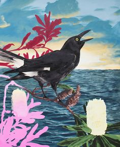 A currawong stops by every year for a couple of days and then he/she is off to who knows where.  Martinich and Carran Print from The Block Shop Australia.