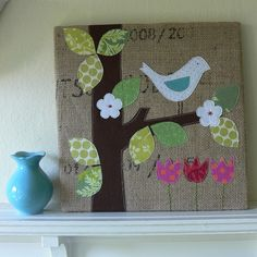 """""""Spring Is In The Air"""" Burlap Art by Stumbles & Stitches, via Flickr"""