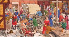 Middelalder-markedsplads ca 1450 – Mittelalter-Marktplatz um 1450 – Middle Age market about 1450