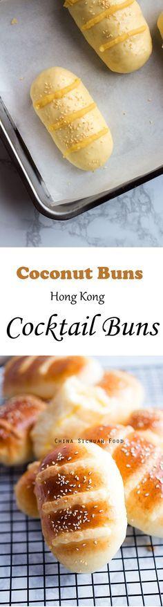 Coconut Buns (Cocktail Buns) | ChinaSichuanFood.com Delicious Vegan Recipes, Delicious Desserts, Snack Recipes, Cooking Recipes, Cooking Tips, Asian Desserts, Health Desserts, Asian Recipes, Coconut Buns