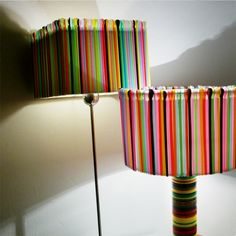 the whole lamp is made from plastic cups, plates and straws.i coul see a lampshade made with colorful straws in my daughters home. cute n happy looking.