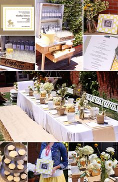 rustic, gender neutral baby shower featuring yellow and khaki