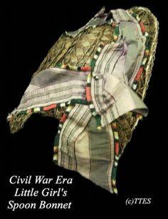 449: Civil War Era Little Girl's Spoon Bonnet Mourning : Lot 449
