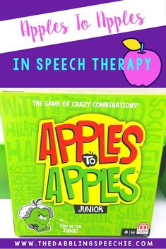 Adapt fun commercial games like apples to apples to use in speech therapy. Target articulation, grammar, language and social skills with apples to apples. #dabblingslp #gamesforspeech #mixedgrouptherapy #speechtherapy #slpeeps #vocabularyactivities
