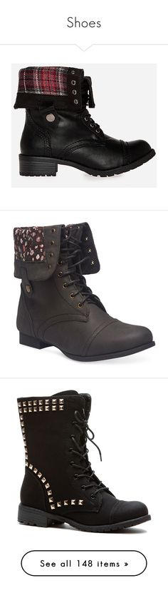 """""""Shoes"""" by alexiaioana ❤ liked on Polyvore featuring shoes, boots, ankle booties, sapatos, combat boots, black, black ankle booties, black fold over boots, fold over booties and foldover combat boots"""
