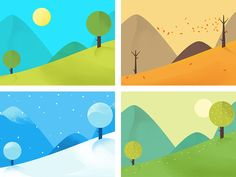 png by ueno. Art And Illustration, Landscape Illustration, Character Illustration, Design Illustrations, Four Seasons Art, App Background, Zentangle Drawings, Simple Art, Motion Design