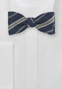 Winter Wool Bow Tie in Beige and Taupe