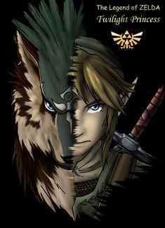 The Legend of Zelda - Twilight Princess Link/Wolf Link art. Zelda Twilight Princess, The Legend Of Zelda, Video Game Art, Video Games, Zelda Tattoo, Half Man, Wind Waker, Link Zelda, Zelda Breath
