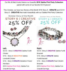 More Great Mix N Match looks featuring the TWO **25% off ** October Stories of the Month: Classics Story 6 Creative and Winter Story 9 Ornate!! SALES ENDS 10/31/16!! Contact me to order from the collections ..SO MANY great specials in honor of Breast Cancer Month where EVERY purchase will generate a donation for this great cause in the fight vs breast cancer!! ****You may also ORDER ONLINE at: ******Visit www.sabika-jewelry.com/ToniSchilb/myparties.asp, select any of the open parties, then…