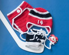OTTAWA SENATORS PACIFIER & Hockey Helmet Hat  by Grandmabilt, $72.00