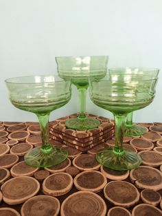 Vaseline Glass Champagne Coupes or Glasses - Depression Glass - Set of 4 - Art Deco Modern Vintage Cocktails and Barware by 20thCKitchenAndTable on Etsy